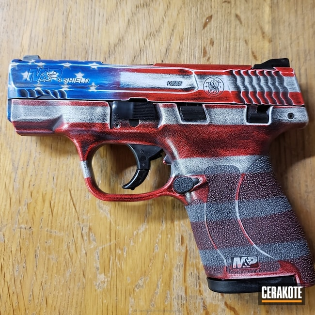 "Thumbnail image for project ""Smith & Wesson M&P Handgun done in a Distressed Cerakote Flag Finish"""