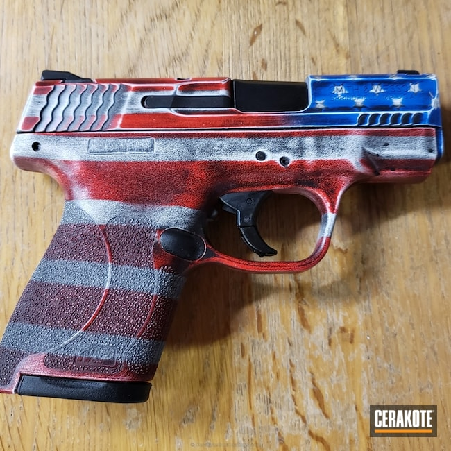 Cerakoted: NRA Blue H-171,Snow White H-136,Graphite Black H-146,Smith & Wesson,Distressed American Flag,USMC Red H-167,Smith & Wesson M&P,Pistol