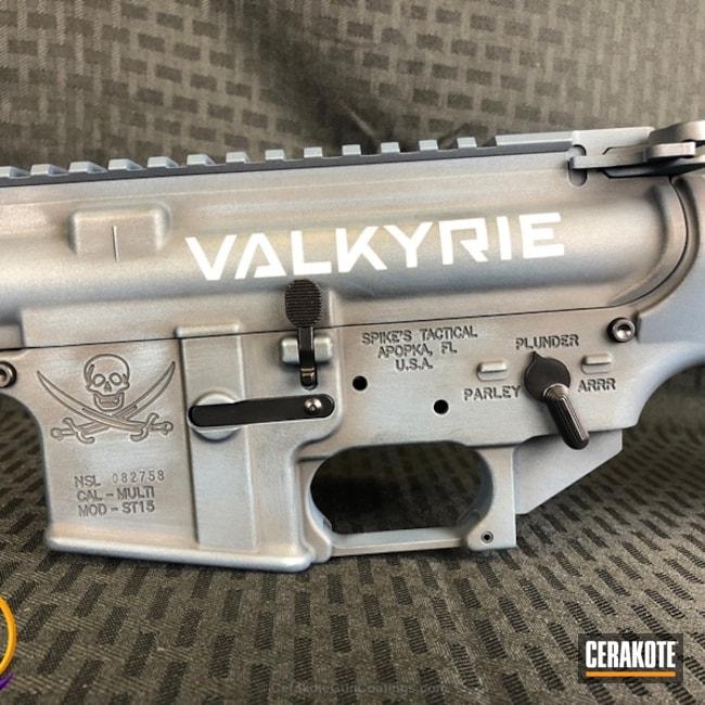 Cerakoted: Spike's Tactical,Graphite Black H-146,Distressed,Tactical Rifle,Blue Titanium H-185