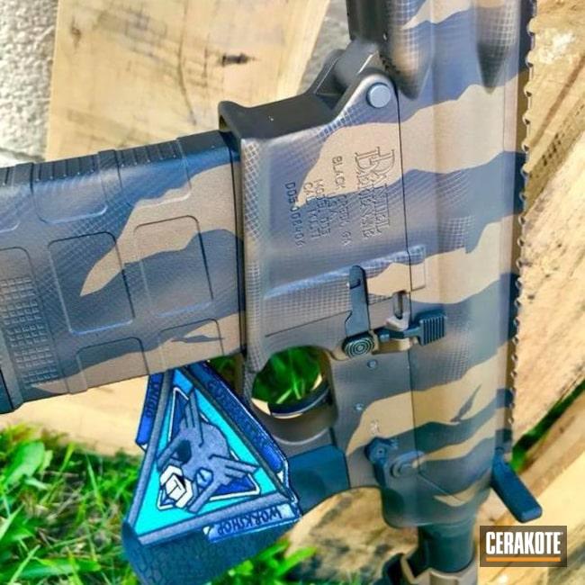 Cerakoted: Tiger Stripes,Daniel Defense,AR-10,Burnt Bronze H-148,Armor Black H-190,Tactical Rifle,.308,AR 308