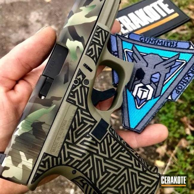 Cerakoted: Laser Stippled,Highland Green H-200,MultiCam,Stippled,Armor Black H-190,Pistol,Glock 23,Glock,Laser Engrave,EDC,Mil Spec Green H-264,40cal