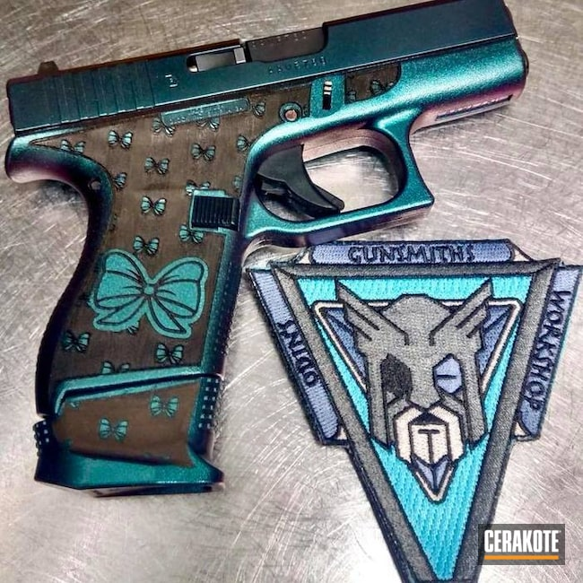 Cerakoted: Laser Stippled,Stippled,Armor Black H-190,Pistol,Glock,Laser Engrave,Glock 43,GunCandy,Laser