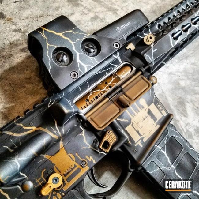 Cerakoted: Graphics,Shimmer Aluminum H-158,Custom Design,Truck Gun,Tactical Rifle,Midnight Bronze H-294,Stencil,EOTech,Gold H-122,Three Color Fade,Electric,AR Custom Build,Daniel Defense,Graphite Black H-146,Custom Themes,Lightning,Burnt Bronze H-148,AR-15
