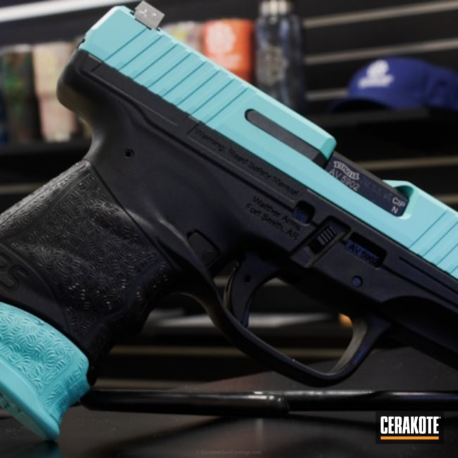 Walther PPQ Handgun done in H-175 Robin's Egg Blue