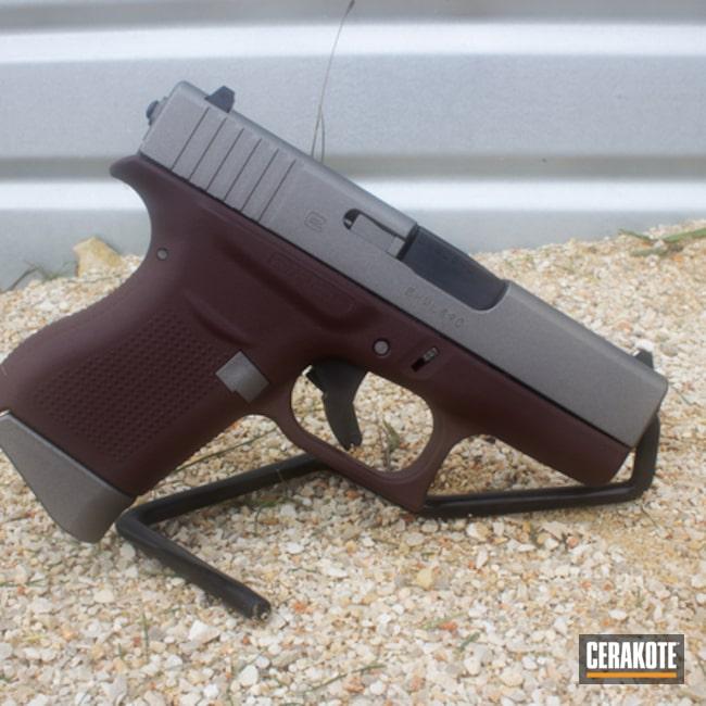 Cerakoted: Custom Mix,9mm,FIREHOUSE RED H-216,Graphite Black H-146,Two Tone,Stainless H-152,Pistol,Glock,Handguns,Custom Maroon,EDC,Glock 43