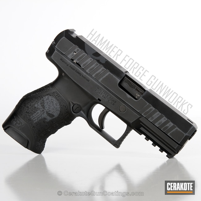 Walther PPX Handgun in a Graphite Black and Sniper Grey Battleworn Finish