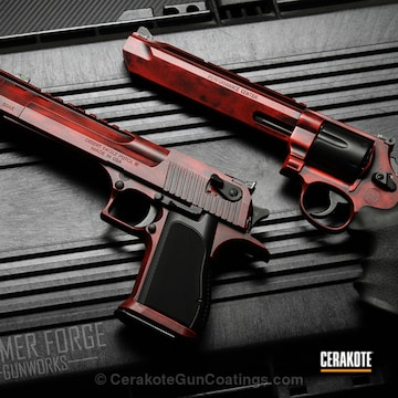 Cerakoted Matching Handguns Coated In H-146 Graphite Black And H-167 Usmc Red