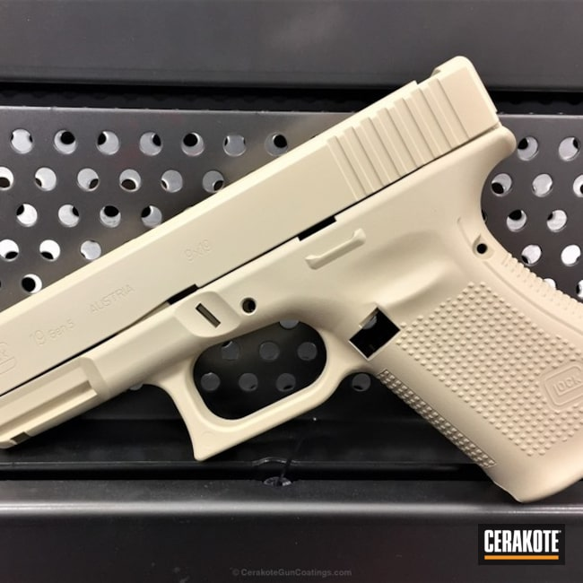 Cerakoted Glock 19 In Cerakote H-142 Light Sand
