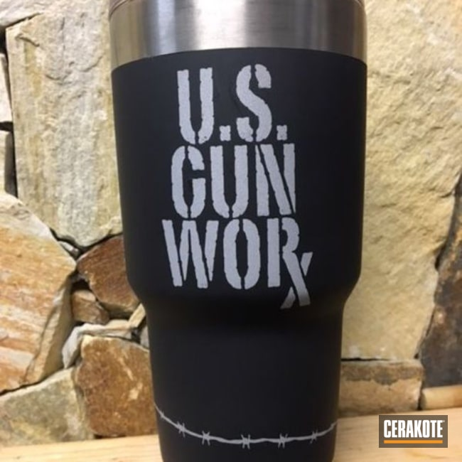 Mobile-friendly version of the 1st project picture. Not Just Guns, Crushed Silver H-255Q, Midnight Blue H-238Q, Ozark Trail, Custom Tumbler Cup