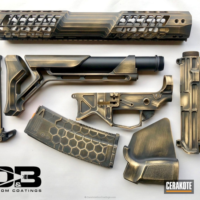 Cerakoted: Graphite Black H-146,Distressed,Napa,Gold H-122,AR-15,Northern California