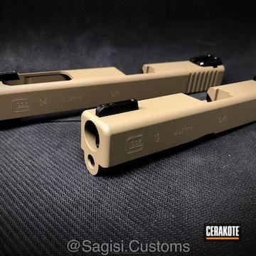 Cerakoted Glock Slides Coated In H-267 Magpul Fde
