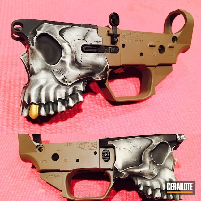 Cerakoted: Hidden White H-242,Skull,MAGPUL® FLAT DARK EARTH H-267,Lower,Spike's Tactical,Spikes Jack Lower,Graphite Black H-146,Gold H-122