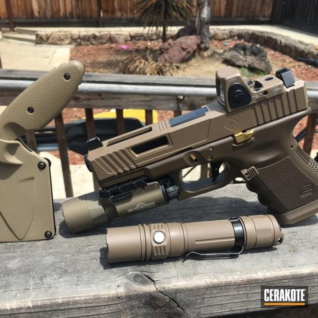 Cerakoted: MAGPUL® FLAT DARK EARTH H-267,Fixed-Blade Knife,Flashlight,Solid Tone,Glock,Matching Set