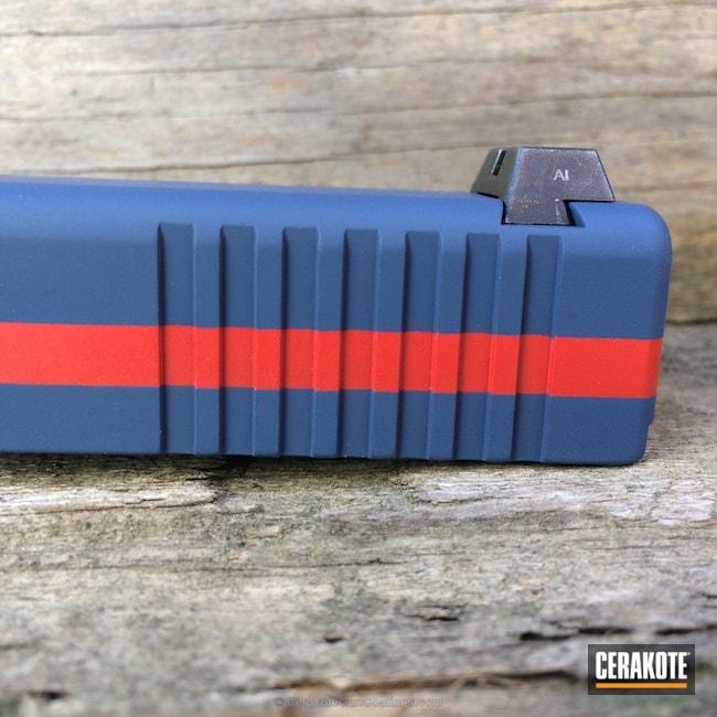 Cerakoted: Two Tone,USMC Red H-167,KEL-TEC® NAVY BLUE H-127,Glock,Slide