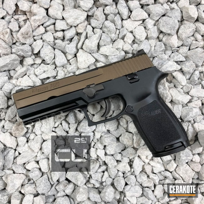 Cerakoted: Pistol,Sig Sauer,Midnight Bronze H-294,Slide,Sig Sauer P250,Handguns