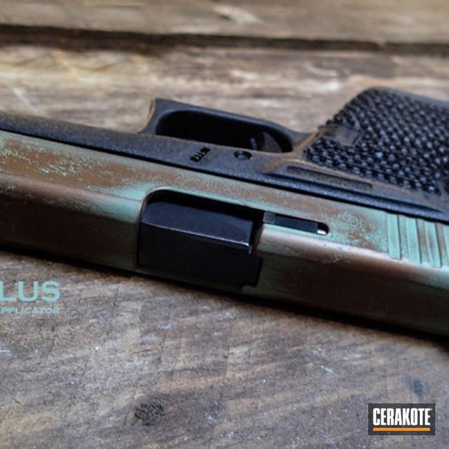 Cerakoted: Robin's Egg Blue H-175,Oxidized Copper,Copper,Copper Patina,Custom Copper,Burnt Bronze H-148,Pistol,Glock,Tarnished Copper,Copper Color,Glock 43