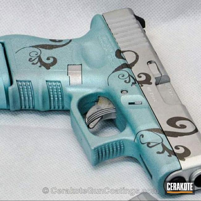 Cerakoted: Robin's Egg Blue H-175,Satin Aluminum H-151,Pistol,Glock