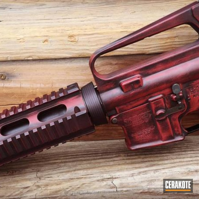 Cerakoted: FIREHOUSE RED H-216,DPMS Panther Arms,Graphite Black H-146,Distressed,Tactical Rifle,AR-15