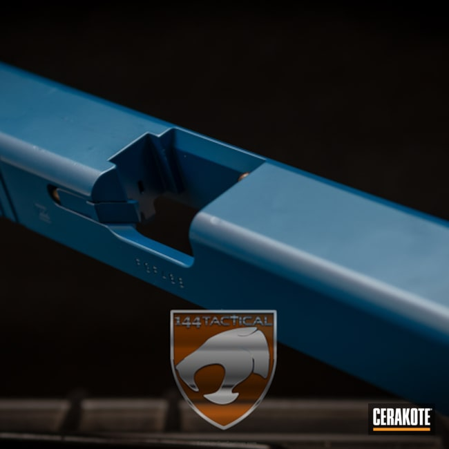 Cerakoted: Restoration,Ridgeway Blue H-220,Blue,Glock 23,Slide