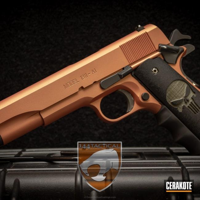 Cerakoted: Custom Mix,Springfield 1911,Pistol,Sunset,Punisher Grips,Sunrise,Copper Brown H-149,Gold H-122,Custom Orange