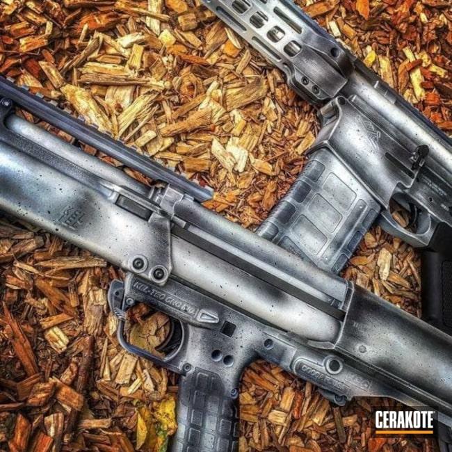 Cerakoted: Tactical Shotgun,Shotgun,Snow White H-136,Graphite Black H-146,Distressed,AR-10,Keltec KSG,Pump-action Shotgun,Matching Set,KSG,AR-15