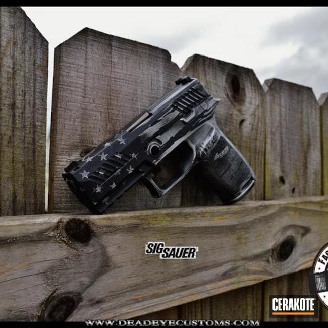 Cerakoted: Patriotic,Custom Design,Armor Black H-190,Pistol,Sig Sauer,Satin Aluminum H-151,We the people,Tattered Flag