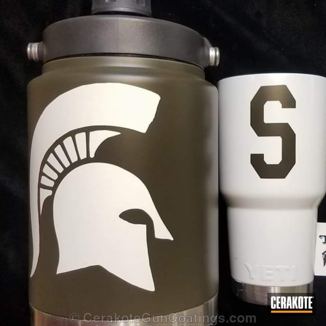 Cerakoted: Bright White H-140,Mil Spec O.D. Green H-240,More Than Guns,Hydrate in Style,Custom Tumbler Cup