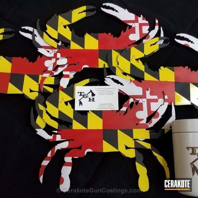 Cerakoted: Bright White H-140,Metal Art,Electric Yellow H-166,Graphite Black H-146,USMC Red H-167,More Than Guns,Crab,Maryland Flag