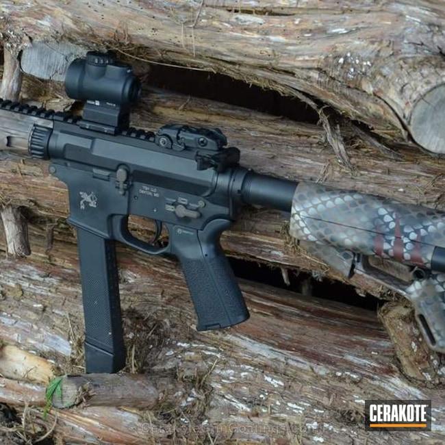 Cerakoted: Hidden White H-242,AR Pistol,Eastern Diamondback,Graphite Black H-146,Rattlesnake,40cal,Quarter Circle 10
