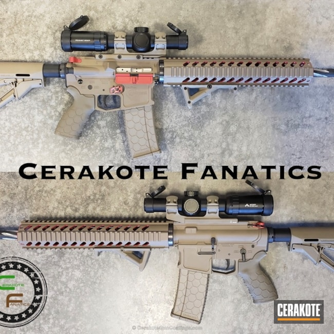 Cerakoted: FIREHOUSE RED H-216,Tactical Rifle,Flat Dark Earth H-265