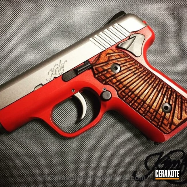 Cerakoted: Kimber Micro Carry,FIREHOUSE RED H-216,Graphite Black H-146,Kimber,Two Tone,Pistol,Kimber Pistol,Kimber Solo