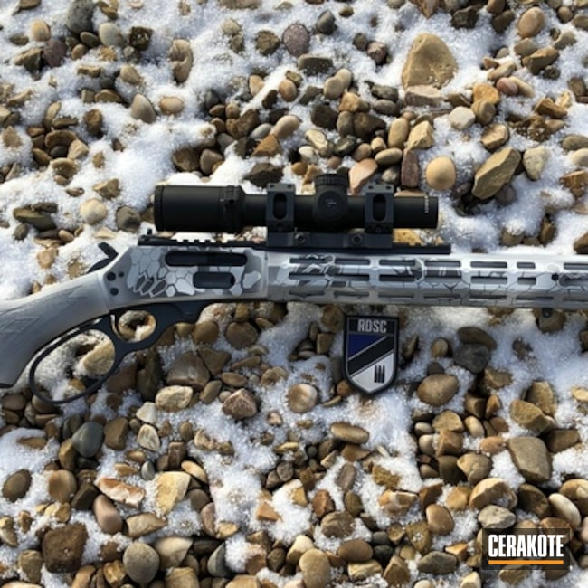 Cerakoted: Rifle,Sniper Grey H-234,Custom Break,Kryptek,Stormtrooper White H-297,Lever Action,Snow Kryptek,American Defense,Bull Shark Grey H-214,Midwest industries,Xs Sights,Marlin Classic Model 1895