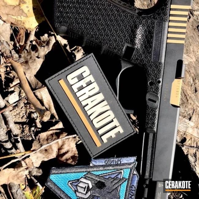 Cerakoted: Laser Stippled,9mm,Stippled,Armor Black H-190,Pistol,Glock,Inlay,Glock 17,Laser Engrave,EDC,Gold H-122