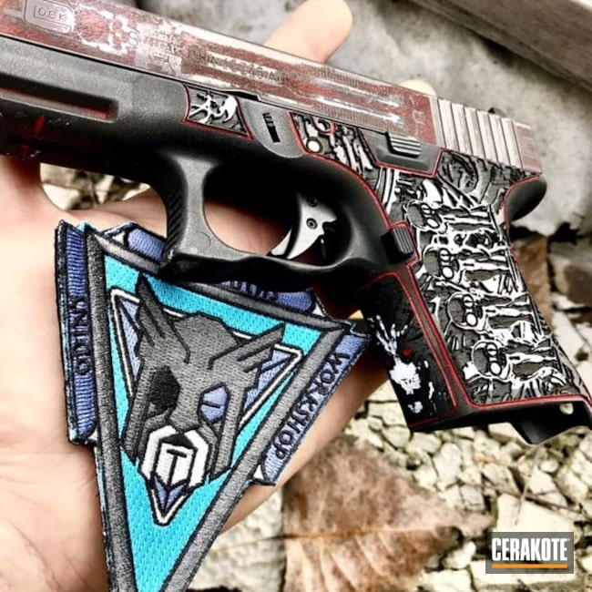 Cerakoted: Laser Stippled,FIREHOUSE RED H-216,Glock 30,Stormtrooper White H-297,Stippled,Armor Black H-190,Glock,Theme,Laser Engrave,EDC,HR Giger,Cobalt H-112