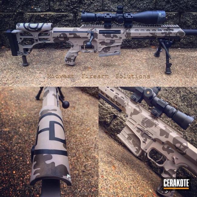 Cerakoted: Bolt Action Rifle,Skull,.338 lapua,Custom Desert Camo,Flat Dark Earth H-265,Marines,Bright White H-140,Desert Camo,Barrett,Graphite Black H-146,Skull Camo,Marine Corps,Marine Corp Logo,Chocolate Brown H-258