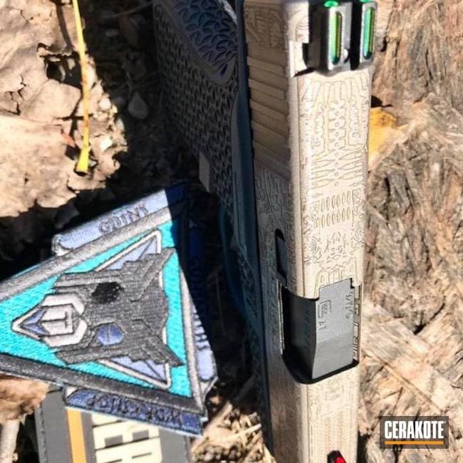Cerakoted: Laser Stippled,Stippled,Pistol,Titanium H-170,Glock,Laser Engrave,EDC,Glock 43,Blue Titanium H-185