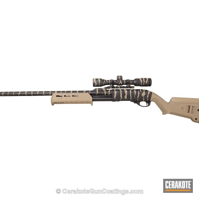 Cerakoted: Tiger Stripes,MAGPUL® FLAT DARK EARTH H-267,Shotgun,Graphite Black H-146,Remington 870,Remington,MAGPUL® O.D. GREEN H-232