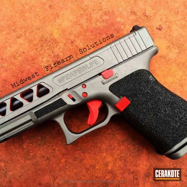 Cerakoted: FIREHOUSE RED H-216,Pistol,Glock,Tactical Grey H-227
