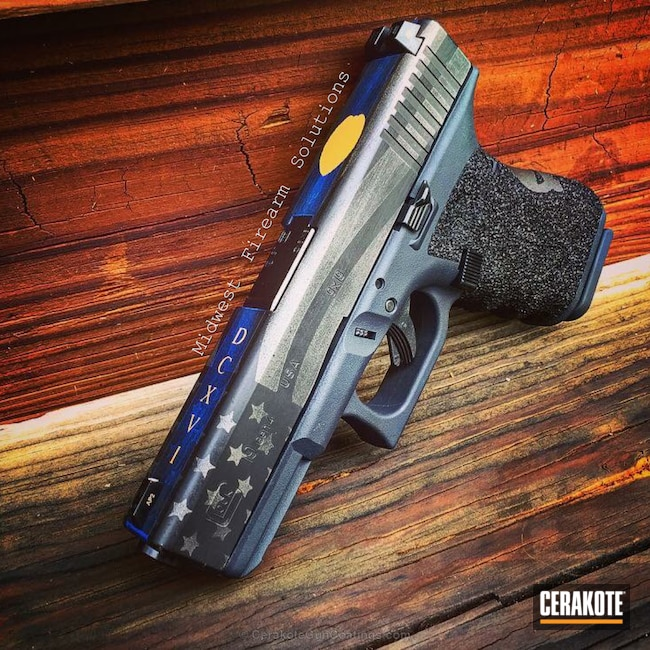 Cerakoted: Thin Blue Line,Thin Blue Line Battleworn,Pistol,Tactical Grey H-227,Gold H-122,Glock 19,Punisher,NRA Blue H-171,Graphite Black H-146,Punisher Skull,Glock,Thin Blue Line Flag,Law Enforcement,Thin Red Line