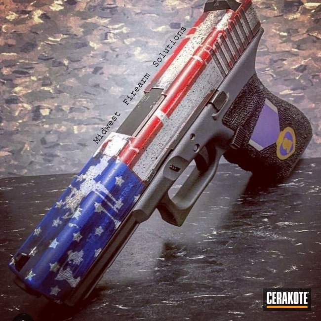 Mobile-friendly version of the 1st project picture. Graphite Black H-146Q, Glock, Glock 17, American Flag, Military, Smith & Wesson Red H-216, Bright Purple H-217Q, NRA Blue H-171Q, Gold H-122Q, Shimmer Aluminum H-158Q, Snow White H-136Q, Tattered Flag, US Flag, Military Theme, Distressed American Flag, Battleworn Flag, Purple Heart