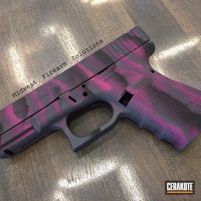 Cerakoted: Freehand Camo,Glock 19,MAGPUL® STEALTH GREY H-188,Graphite Black H-146,SIG™ PINK H-224,Camo,Pistol,Glock,Custom Camo