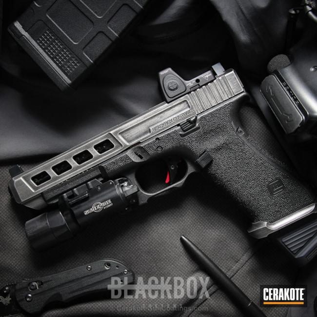 Cerakoted: Battleworn,Graphite Black H-146,Stippled,Titanium H-170,Pistol,Glock