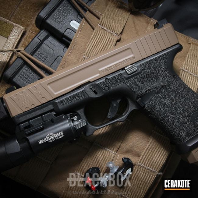 Cerakoted: Glock 19,MAGPUL® FLAT DARK EARTH H-267,Two Tone,Stippled,Pistol,Glock