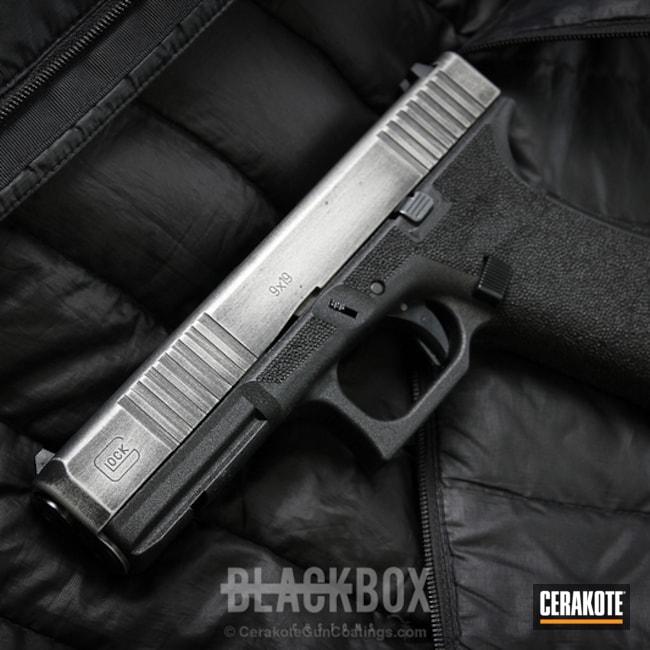 Cerakoted: Stainless H-152,Stippled,Armor Black H-190,Pistol,Glock