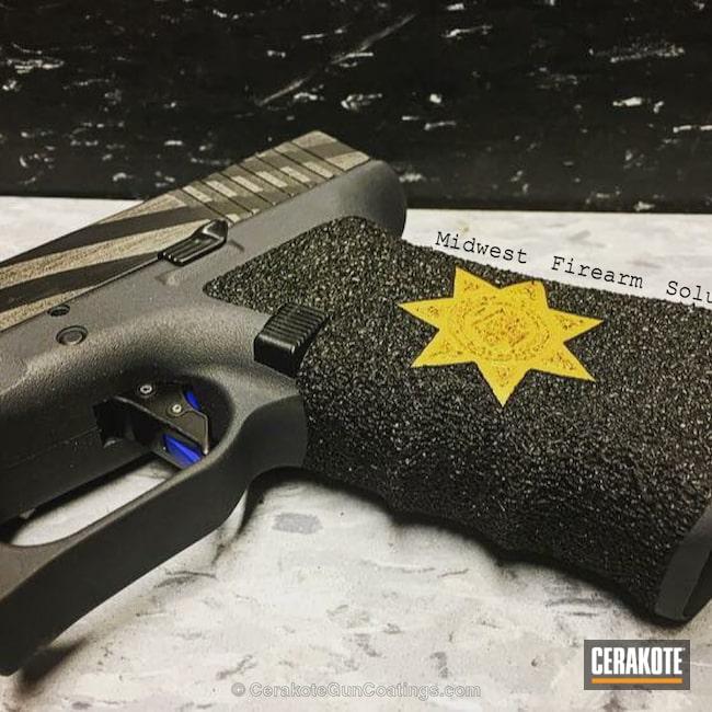 Cerakoted: Thin Blue Line,Glock 34,Thin Blue Line Battleworn,Pistol,American Flag,Glock 17,Tactical Grey H-227,Tattered Flag,Gold H-122,NRA Blue H-171,Battleworn Flag,Graphite Black H-146,Glock,Thin Blue Line Flag