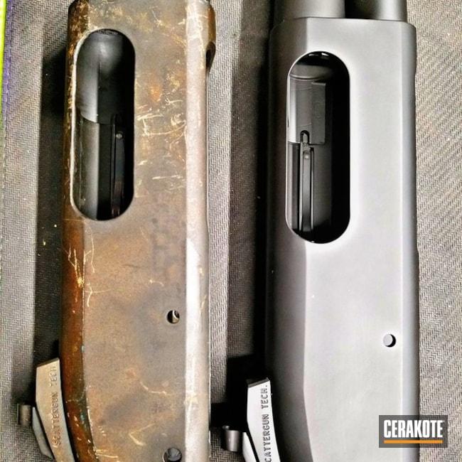 Cerakoted: Graphite Black H-146,Remington 870,Remington,Before and After