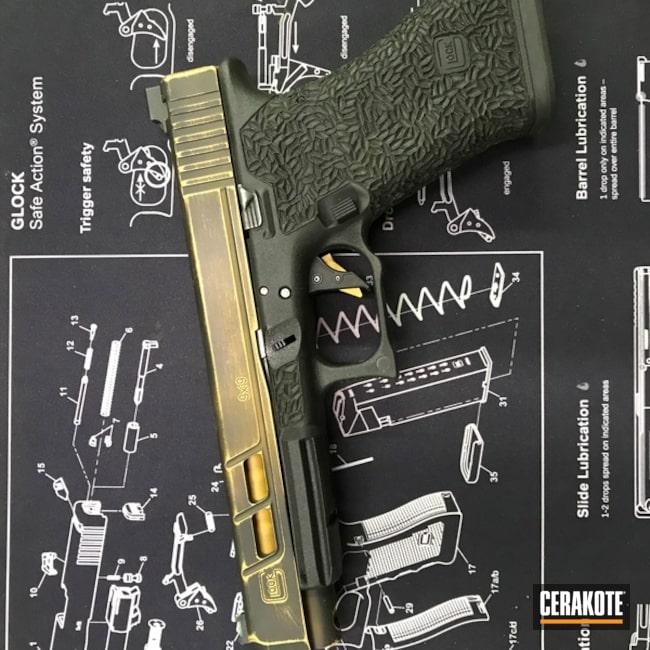 Cerakoted: Battleworn,Custom,Distressed,Armor Black H-190,Glock,Glock 17,Gold H-122