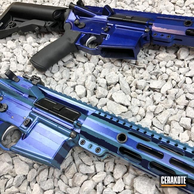 Cerakoted: Rifle,Robin's Egg Blue H-175,Thin Blue Line,Socom Blue H-245,Supersonic,Distressed American Flag,American Flag,BCI Defence,AR-15,GunCandy