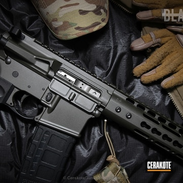 Cerakoted Rainier Arms Rifle Coated In A Magpul O.d. Green And Tungsten Cerakote Finish