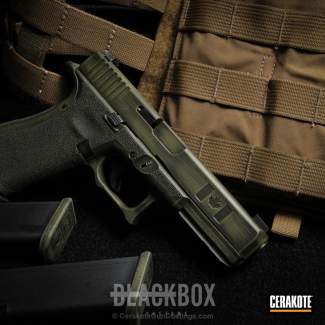 Cerakoted: Punisher,Graphite Black H-146,Distressed,Stippled,Pistol,Glock,Noveske Bazooka Green H-189